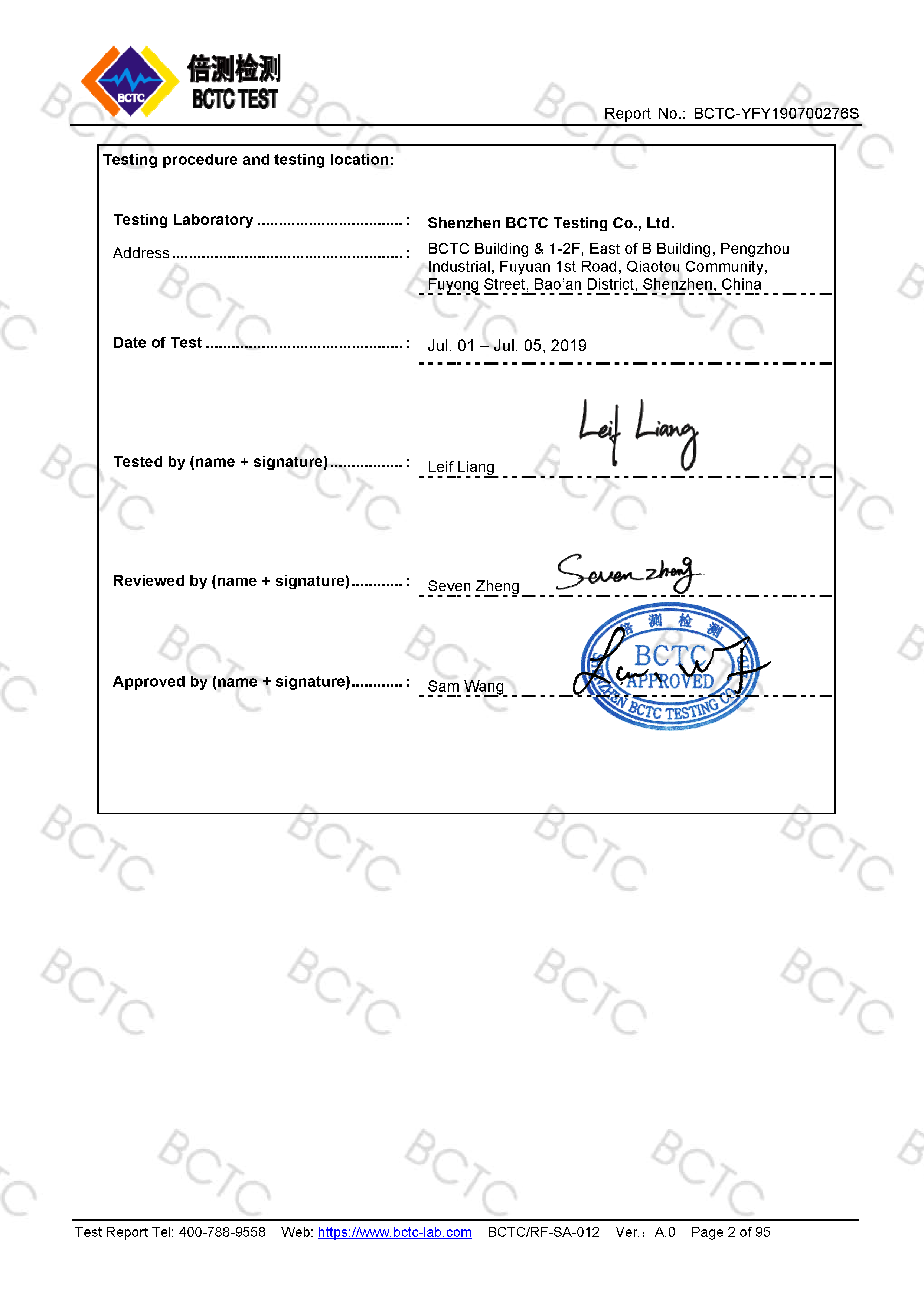 Tri-Oxy COMPLETE LVD Test Report Page 2