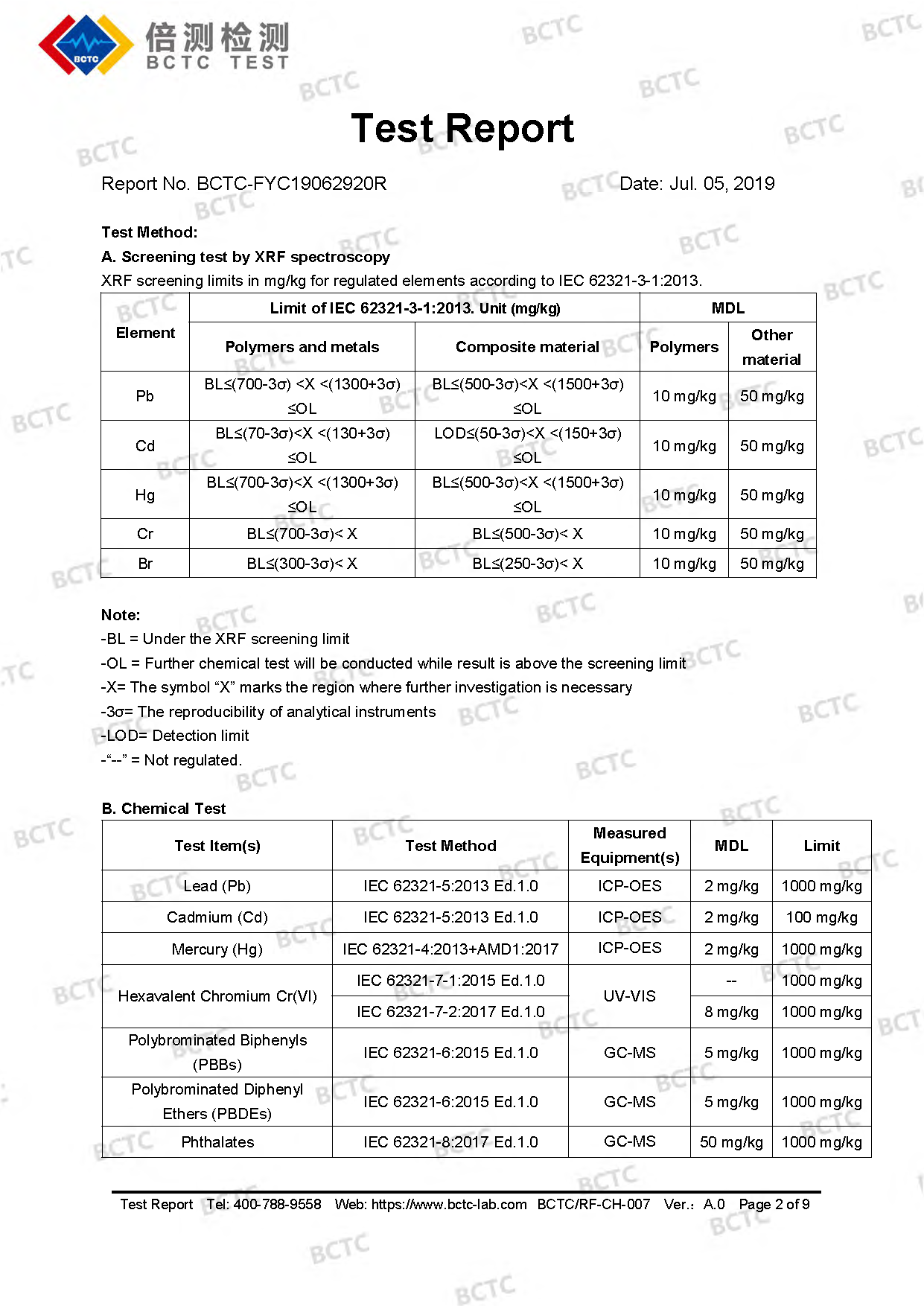 Tri-Oxy COMPLETE ROHS Test Report Page 2