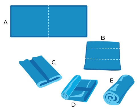 Illustrative Example of Folding Towels for the Spinal Twist Exercise