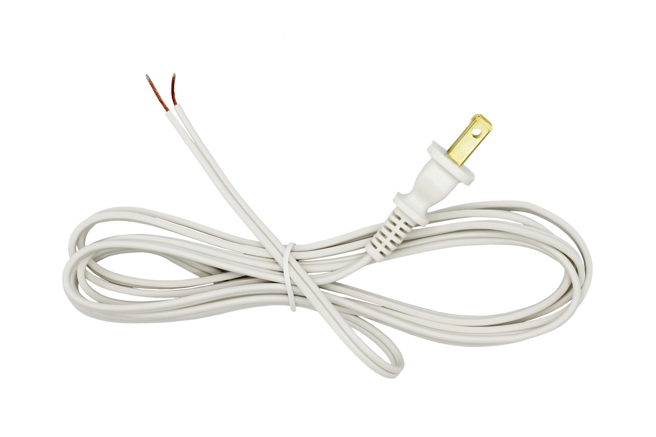 Lamp Cord With Polarized End Plug, Stripped Tips Ready For Wiring -8 Foot  White - Wholesale Craft OutletWholesale Craft Outlet