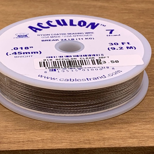 .018 Clear Acculon Tigertail Beading Wire 7strand