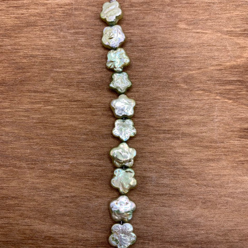 Lime Cultured Freshwater Pearl Flower Bead