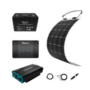 100W Solaranlage flexibel mit 12V 100Ah Li Batterie 30A MPPT Ladegerät