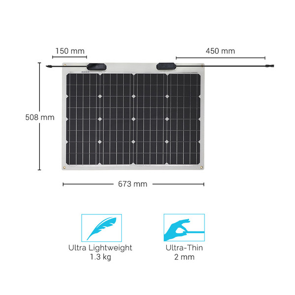 Flexibles Solarmodul Monokristallin 50W 12V
