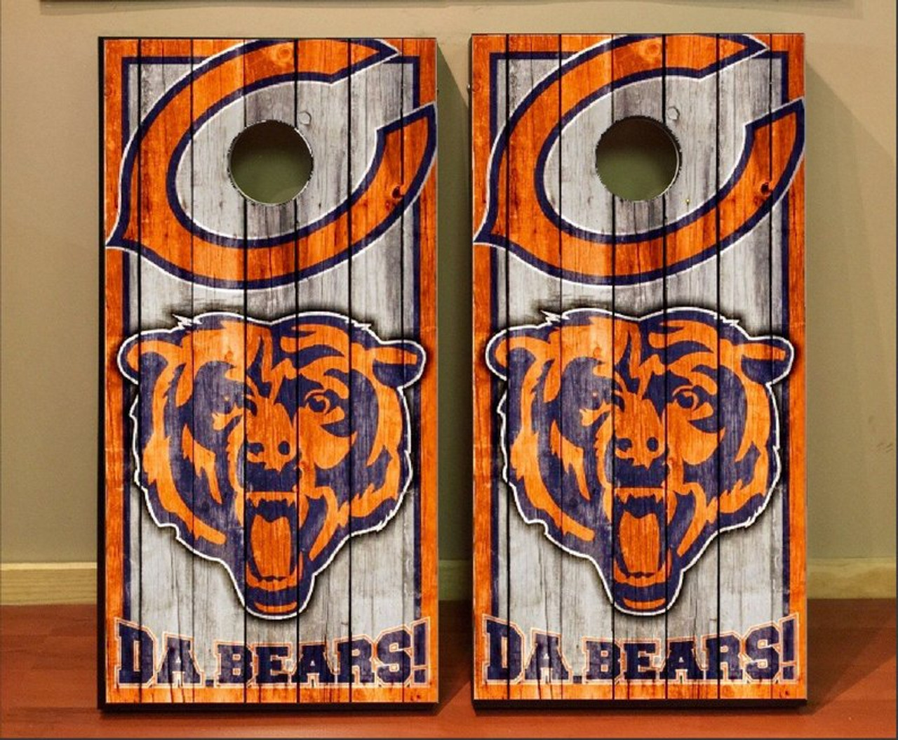 8 bags personalized Chicago Bears cornhole boards