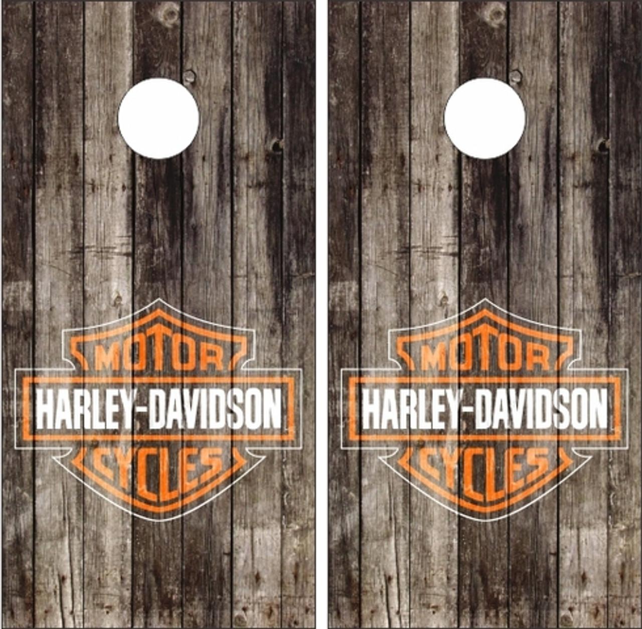 Set of 8 Harley Davidson BLACK /& ORANGE Cornhole Corn Hole Bags FREE SHIPPING!