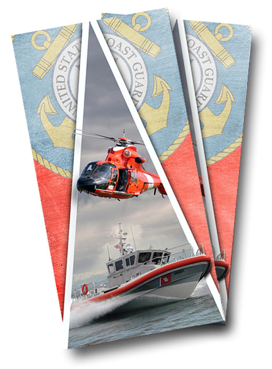 U.S Coast Guard Barnwood Cornhole Board Wraps FREE LAMINATION #3037