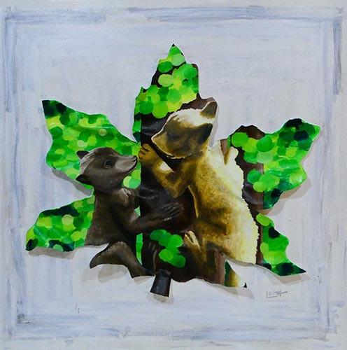 Bear-Cubs-In-Waterton-animal-painting