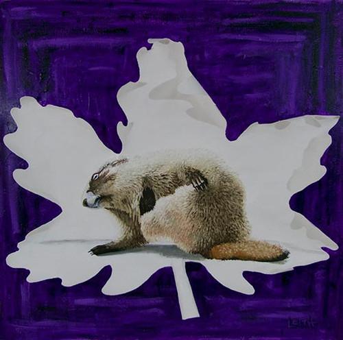 Hoary-Marmot-in-Glacier-animal-painting