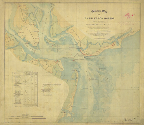 "1865 General Map of Charleston Harbor, showing Rebel Defenses and Obstructions. Beautiful, historical map of Charleston, SC during the Civil War. 18"" x 24"""