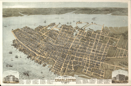 "A panoramic map of Charleston, SC using perspective mapping to show the city from a unique, aerial view. Bird's eye view maps were popular in the late 1800's. Many cities used them as promotional material to attract business, tourists, and new residents. Mapmakers used perspective mapping to create these beautiful, unique maps. 18"" x 24"""