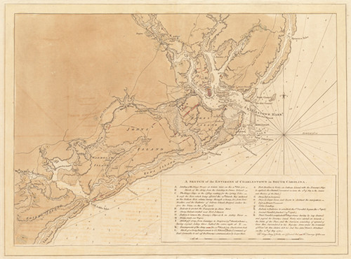 "A British map of the 1780 Siege of Charlestown (Charleston, SC) during the Revolutionary War. 18"" x 24"""