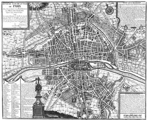 "City plan of Paris in 1589. 18"" x 24"""