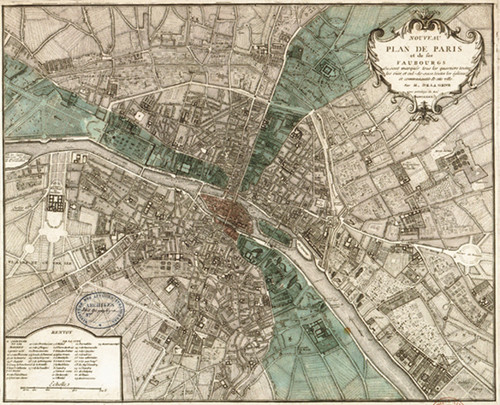 "City plan of Paris 1740. 18"" x 24"""