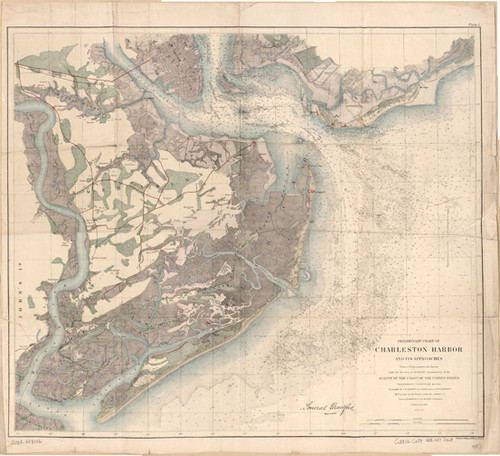 "A preliminary chart of Charleston Harbor and its Approaches from a trigonometrical survey of coast of the United States. Dated 1858. 18"" x 24"""