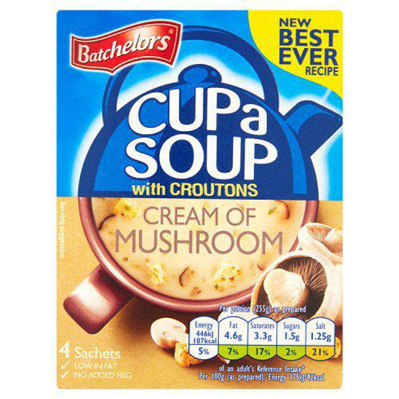 Batchelors Cup-a-Soup with Croutons Cream of Mushroom, 4pk
