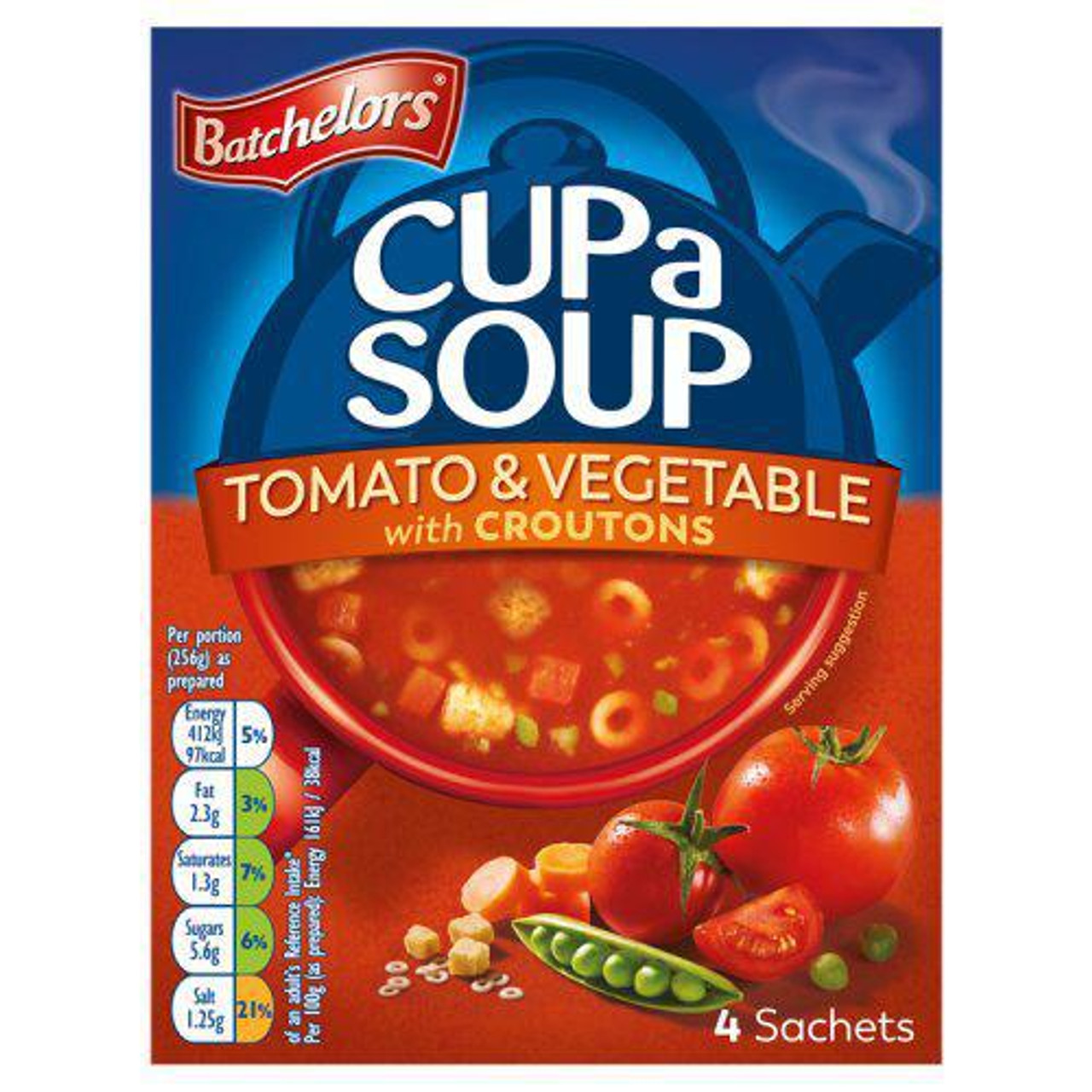 Batchelors Cup-A-Soup - Tomato & Vegetable, 4pk
