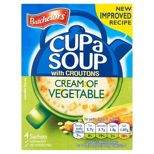Batchelors Cup-a-Soup Cream Of Vegetable, 4pk
