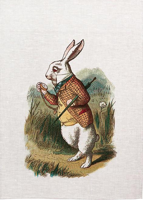 Alice in wonderland tea towel. White rabbit looking at his watch. 426_KT
