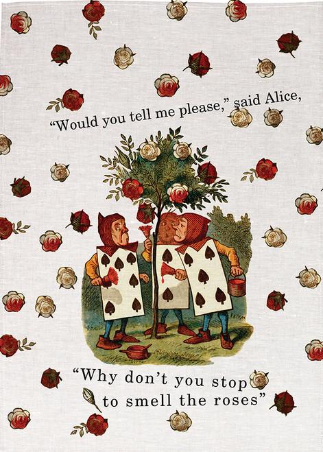 Alice in wonderland tea towel. painting roses.  Edge to edge print of roses.4209_KT