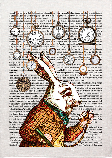 Alice in wonderland tea towel. Anthropomorphic white rabbit in waistcoat looking at watch.  Back ground of hanging FOB watches and printed text.  AA16