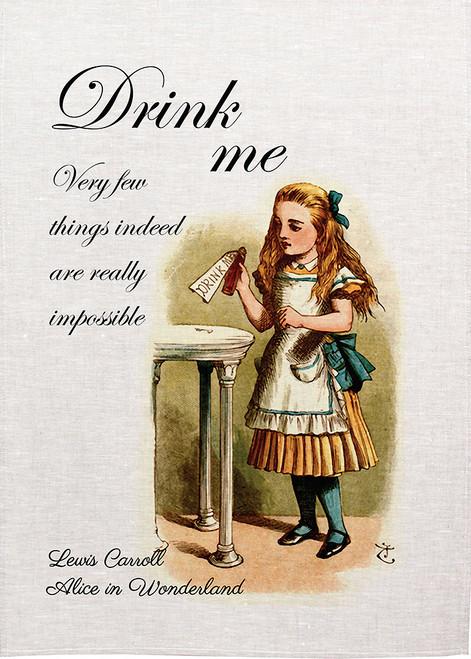 """Alice in wonderland tea towel. Alice drinks from bottle labelled """"Drink me"""" Alice03_Drink me-KT"""