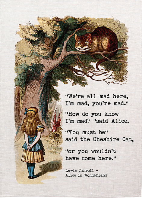 Alice in wonderland tea towel. Alice talks to the cheshire cat, Cat calls Alice mad, Alice07_MAD_KT