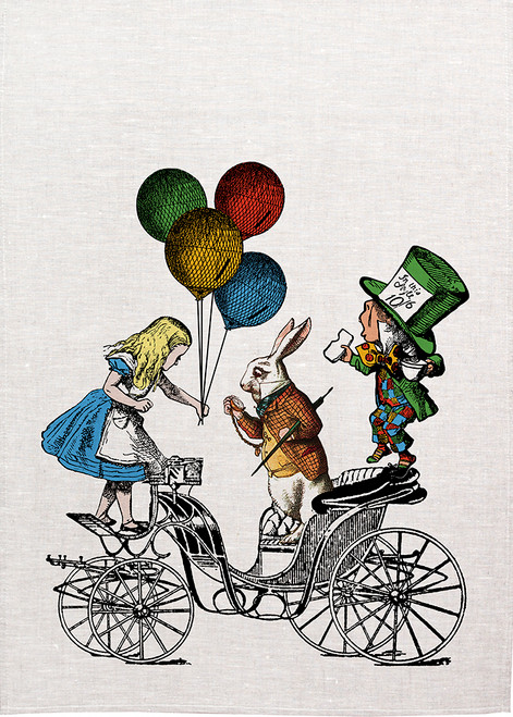 Alice in wonderland tea towel. Alice on on carriage with Made hatter and white Rabbit, Made in Australia, Alice31_KT
