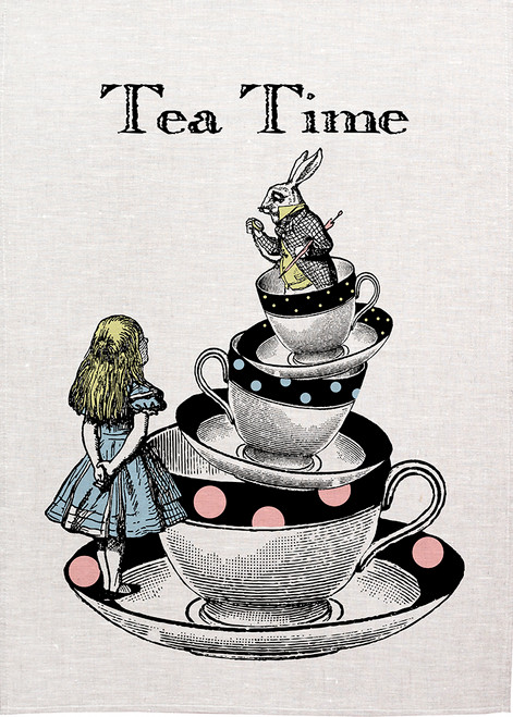 Alice in wonderland tea towel. Alice and white Rabbit with a cup and saucer stack, Made in Australia, Alice32_KT