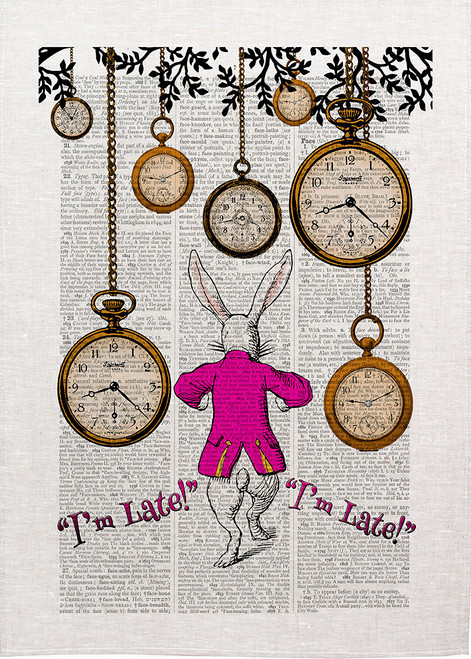 Alice in wonderland tea towel. Anthropomorphic white Rabbit with FOB watches, I am late, I am late,  Made in Australia, Alice47_Late_KT