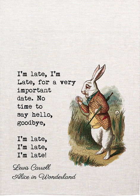 "Alice in wonderland tea towel. Anthropomorphic white rabbit saying "" I am late"",  Made in Australia, Alice426_LATE_KT"