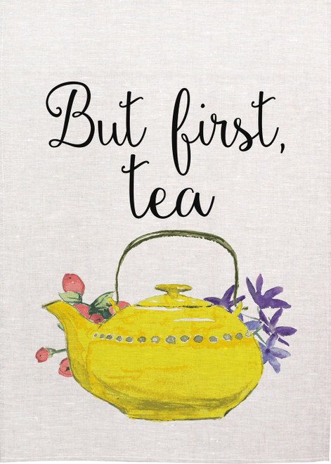 High Tea, But First Tea, yellow floral tea pot, Printed tea towel, ButFirstTea_KT