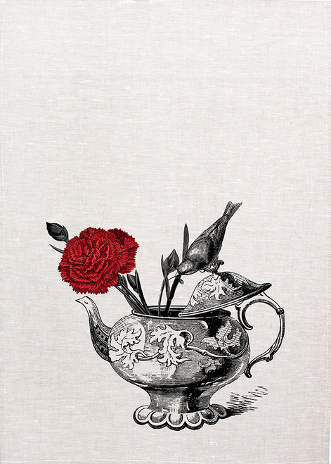 High Tea, Bird and carnation on tea pot, Printed tea towel, 2600A_KT