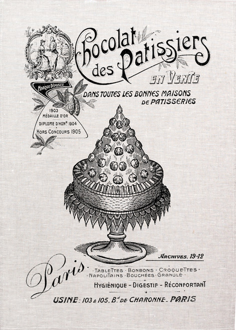 High Tea,Chocolat des Patissiers, Printed tea towel, 1985_KT