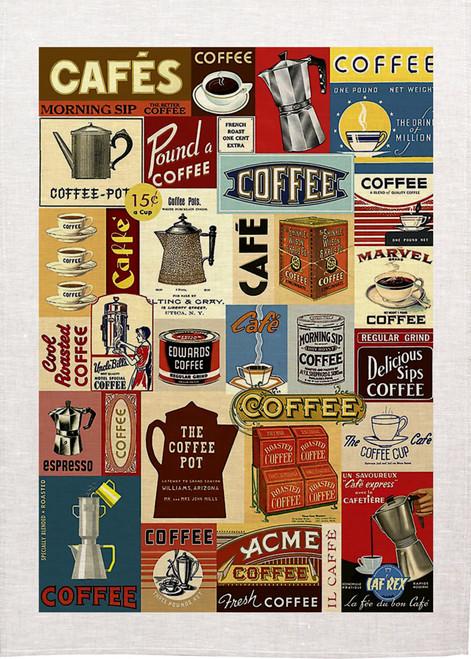 High Tea, Coffee collage, Printed tea towel, HEC72_KT