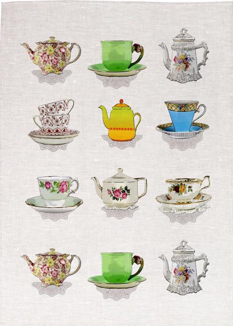 High Tea, Tea pots and cups display, Printed Tea towel, Tea22_KT