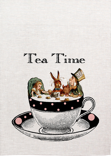 Alice in wonderland tea towel. Alice and mad hatter with white rabbit enjoying a tea party in a tea cup, Printed tea towel,Alice33_KT