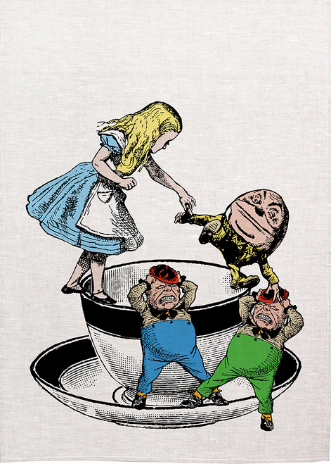 Alice in wonderland tea towel. Alice and humpty dumpty with twiddle dee and twiddle dum on a tea cup, Printed tea towel, Alice28_KT