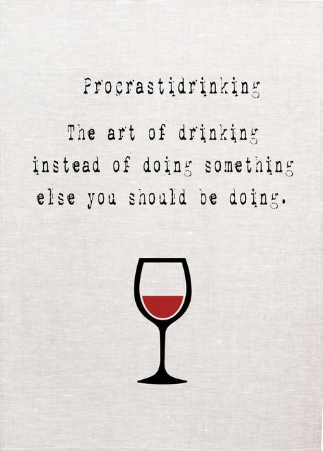 Wine, procastidrinking Printed Tea Towel, Wine102_KT