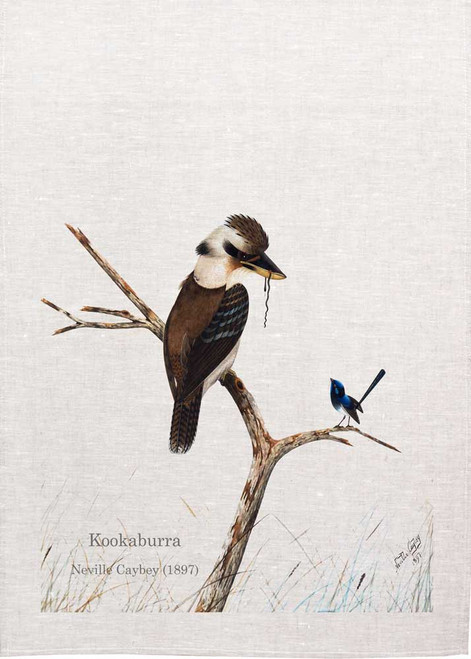 Kookaburra water colour design by Neville Caybey printed on tea towel, Made in Australia