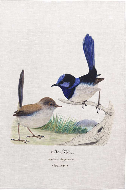 Blue Wren printed on tea towel, Made in Australia