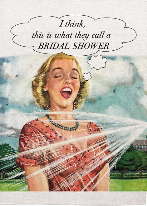 Retro housewife Printed Tea Towel, I think, this is what they call a bridal shower. Made in Australia