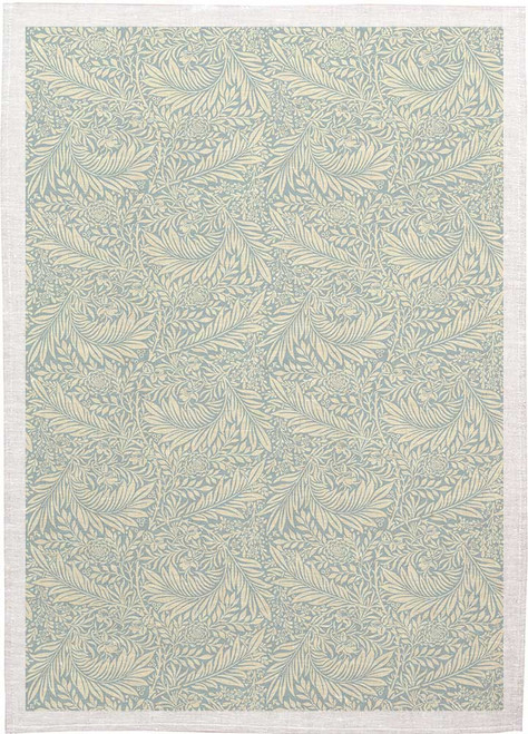 William Morris Tea Towel WM04 lightblue Background to white leaves, Made in Australia