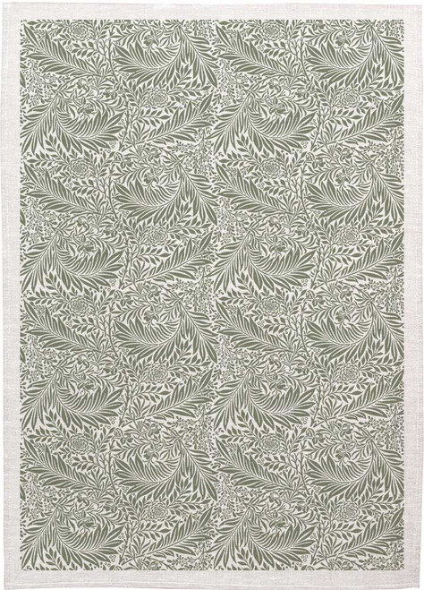 William Morris Tea Towel WM04 olive Green leaves, Made in Australia
