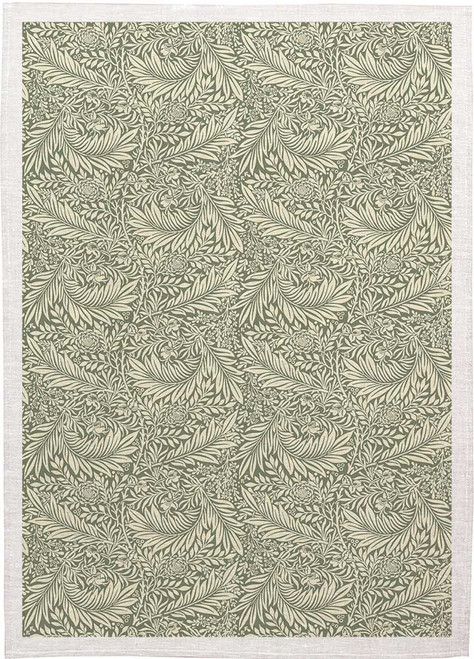 William Morris Tea Towel WM04 olive Green background on white leaves, Made in Australia