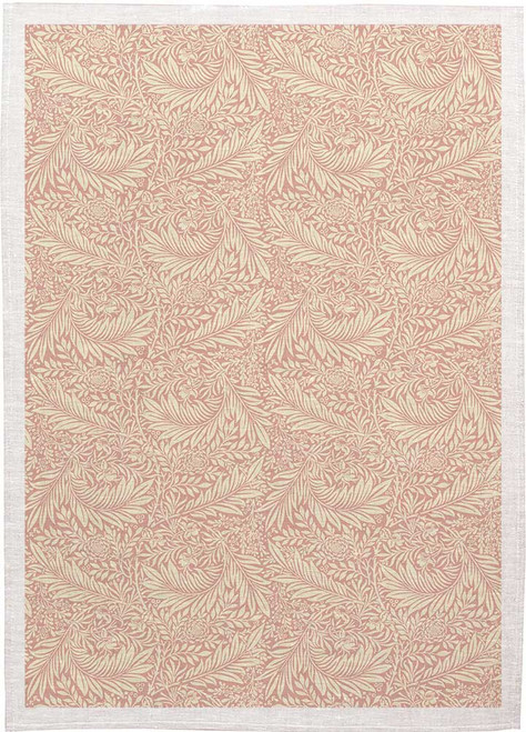William Morris Tea Towel WM04 Pink Background on white leaves, Made in Australia