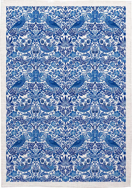 William Morris Tea Towel WM33 strawberry thief in blue pattern, Made in Australia