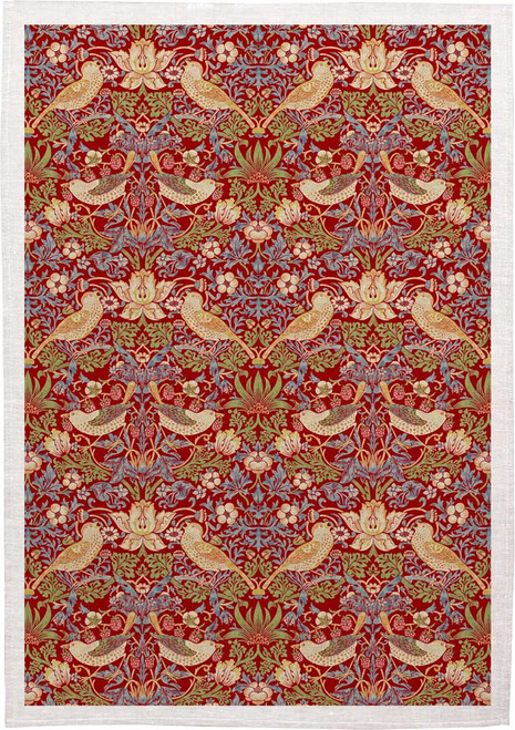 William Morris Tea Towel WM40 strawberry thief in red, Made in Australia
