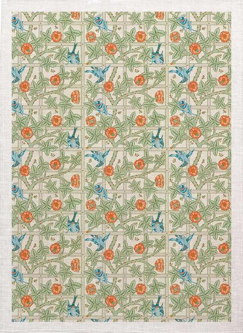 William Morris Tea Towel WM76 bird on vine and lattice pattern Made in Australia