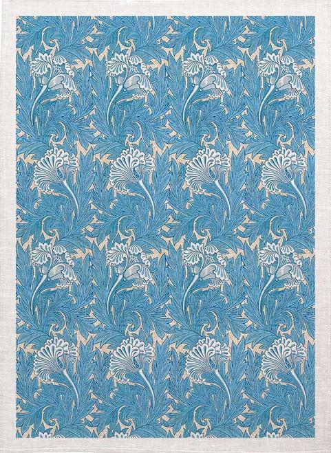 William Morris Tea Towel WM77 floral blue pattern Made in Australia